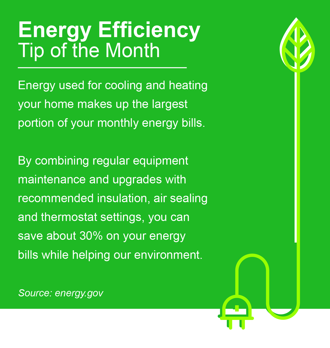 September Energy Efficiency Tip of the Month