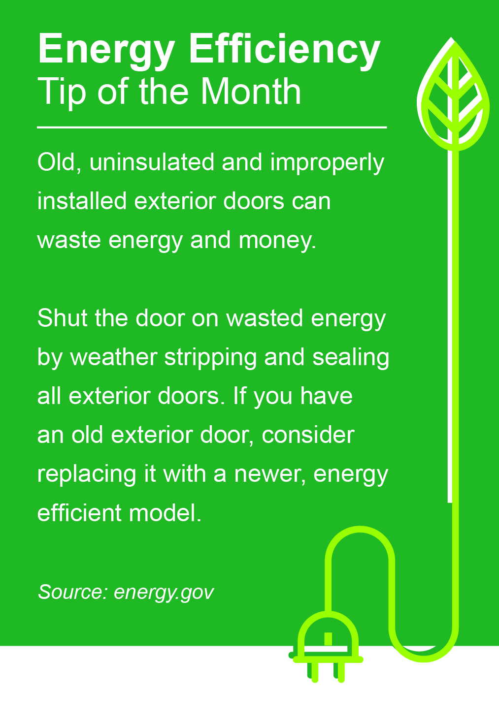 October Energy Efficiency Tip of the Month